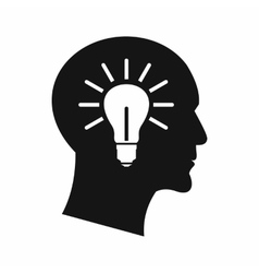 Light bulb inside head icon simple style vector image