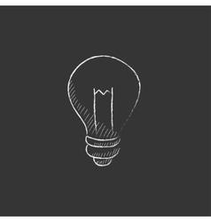 Lightbulb drawn in chalk icon vector