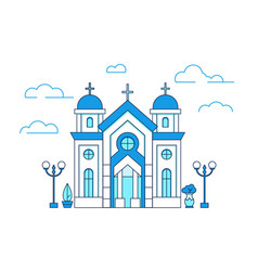 line art house christian church in greece vector image