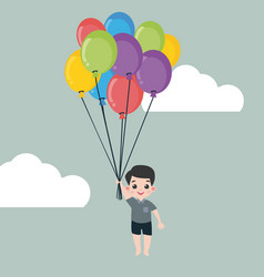 little boy holding balloon vector image
