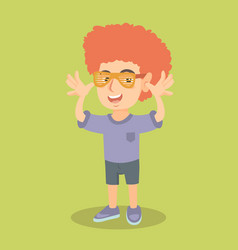 Little caucasian boy wearing clown wig and glasses vector