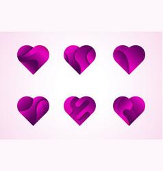 love hearts icons logo set vector image