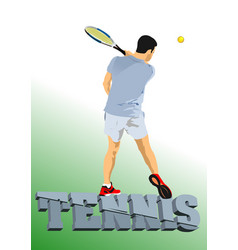 Man tennis player poster colored vector