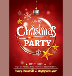 merry christmas party and glass ball for flyer vector image