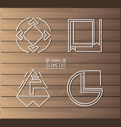 Minimal geometric template with wooden background vector