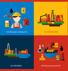 oil industry colored flat set vector image