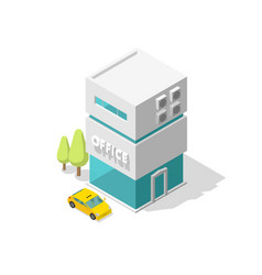 one single office building and taxi car two vector image