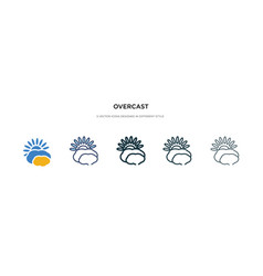 Overcast icon in different style two colored and vector