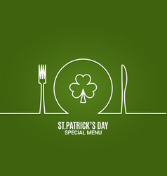 patrick day menu fork and knife with plate line vector image