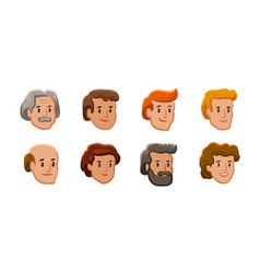 people icons male and female faces avatars vector image