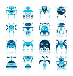 Robot transformer color flat icon set vector