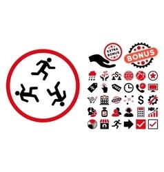 Running Men Flat Icon with Bonus vector