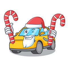 Santa with candy taxi character mascot style vector