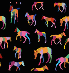 seamless pattern with colorful foals on black vector image