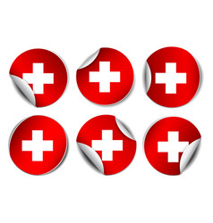 set bright sticker with flag swiss vector image