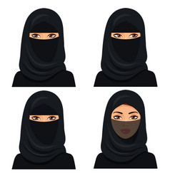 Set four beautiful young saudi woman portrait vector