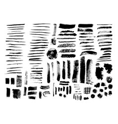 set of grunge brush strokes and stains vector image