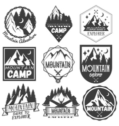 set of mountain camp labels in vintage vector image