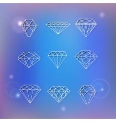Set of polygonal diamonds vector image