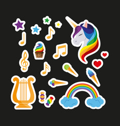 set stickers unicorn with closed eyes harp vector image