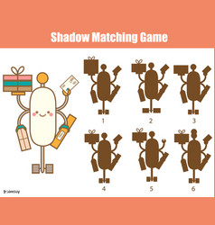 shadow matching game kids activity with robot vector image
