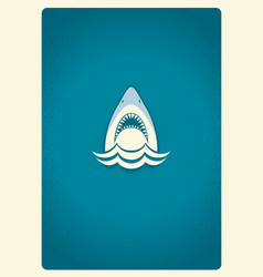 Shark jaws logo blue symbol vector image