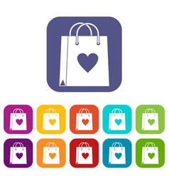 Shopping bag icons set flat vector