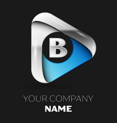 silver letter b logo in silver-blue triangle shape vector image
