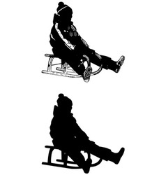 sledding vector image