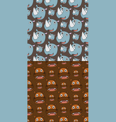 smile hippo and rhino seamless pattern vector image