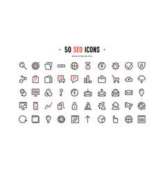 stock set seo optimization icons vector image