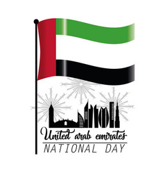 Uae flag with building and firewords to national vector