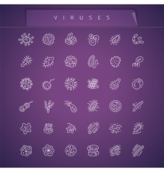 Viruses Thin Icons Set vector image