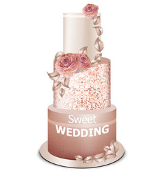 wedding cake golden decorations and rose flowers vector image