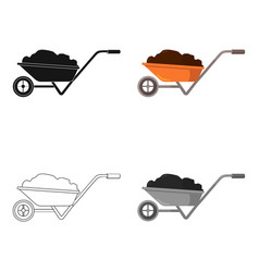 Wheelbarrow icon of for web vector