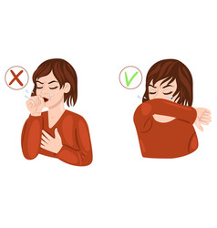 woman coughs in arm and elbow isolate vector image