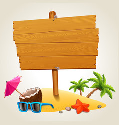 Wood sign in the beach icon vector