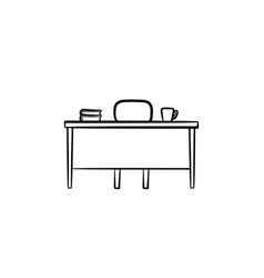 work desk hand drawn sketch icon vector image