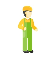 Worker in Uniform and Helmet vector