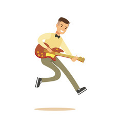 young musician playing classic guitar vector image
