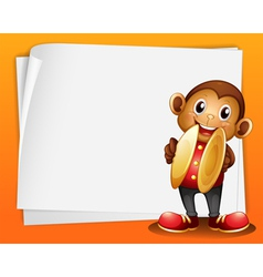 A monkey with cymbals and the blank space vector image