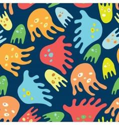 Cartoon octopuses seamless pattern vector