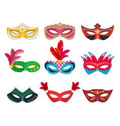 collection venetian carnival masks hand painted vector image