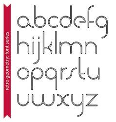 Elegant black and white slim lowercase letters vector image