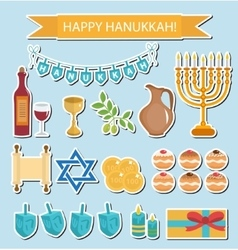 Hanukkah sticker pack Hanukkah Icons vector image