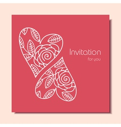 Invitation card with hearts vector image vector image