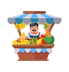 Local market farmer selling vegetables vector image vector image