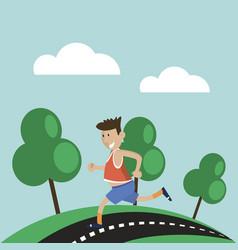 man has jogging outdoors vector image