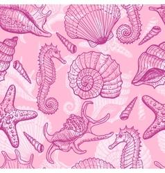 Sea hand drawn seamless pattern vector image vector image