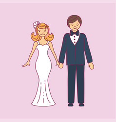 wedding couple is hugging each other vector image vector image